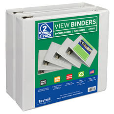 "Samsill View Binder, D Ring, White,  2"", 4 Pack"
