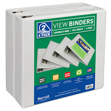 "Samsill View Binder - 2"" - White - 4 pk."
