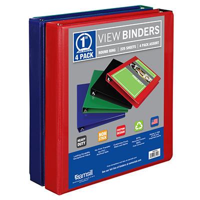 """Samsill View Binder, 1"""", 4 Pack, Basic Assortment"""