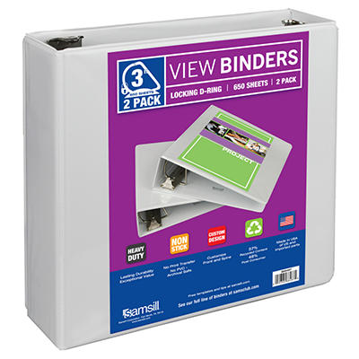 "Samsill View Binder - 3"" - Black - 2 pk."