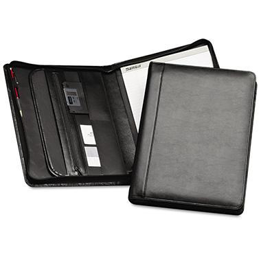 Samsill Leather Zipper Close Padfolio