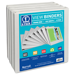 "Samsill Presentation Binder, Round Ring, 1"",  8 Pack"