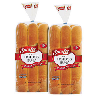 Sara Lee� Restaurant Style White Hot Dog Buns - 12 ct. - 2 pks.