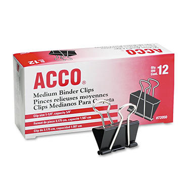 Acco - Binder Clips, Medium - 12 Per Box - 8 Boxes - 96 Total Clips