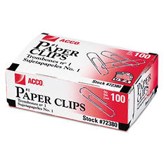 ACCO - Paper Clips, #1 Size, Smooth, 100 Count - 10 Pack