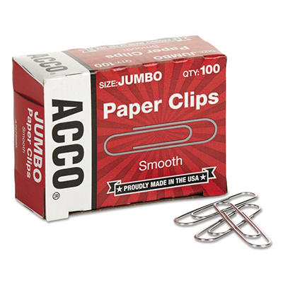 ACCO - Paper Clips, Jumbo, Smooth, 100 Count - 10 Pack