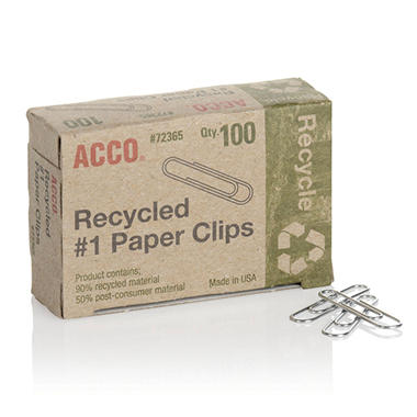 ACCO Recycled Standard Paper Clips - 100 per Box - 20 Boxes