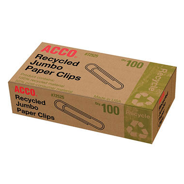 ACCO Recycled Jumbo Paper Clips - 100 per Box - 8 Boxes