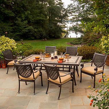 Bordeaux Patio Dining Set with Premium Sunbrella® Fabric - 7 pcs, Original Price $1299.00