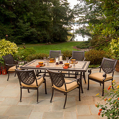 Bordeaux Patio Dining Set with Premium Sunbrella® Fabric - 7 pcs,