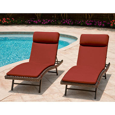 Heritage 2-Pack Chaise Cushion with Premium Sunbrella® Fabric - Cornell Red