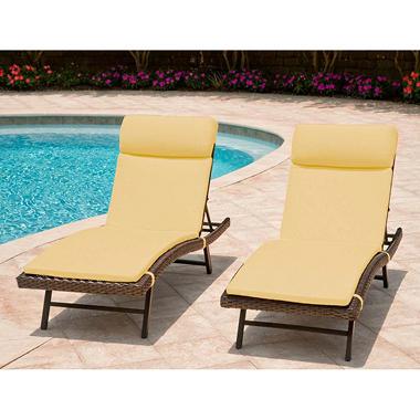 Heritage 2-Pack Chaise Cushion with Premium Sunbrella® Fabric - Canvas Cornsilk