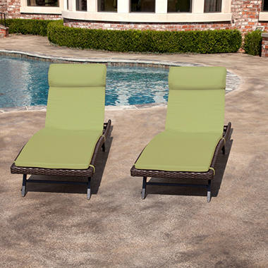Toronto Outdoor Chaise Cushion Canvas Turf - 2 pk.