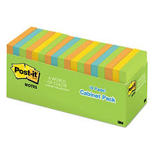 Post-it - Notes Cabinet Pack - 3 x 3 - Ast. Bright Colors - 100 Sheets/Pad - 18/Pack
