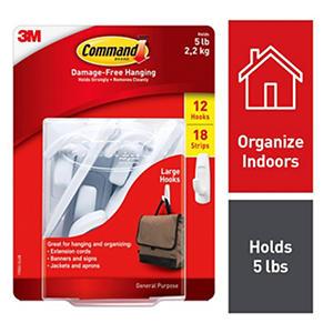 3M Command Large Utility Hooks, White, 12 Hooks, 18 Adhesive Strips