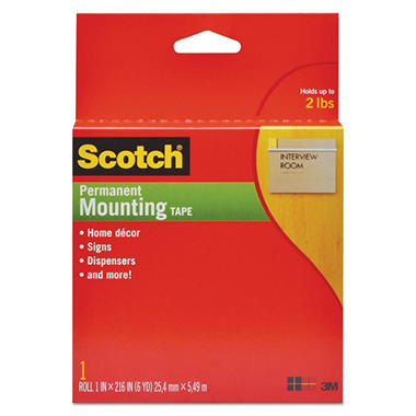 "3M Scotch - Foam Mounting Double-Sided Tape - 1"" Wide x 216 Long"