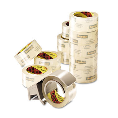 "Scotch - 3750 Commercial Packaging Tape, 1.88"" x 54.6YD - 12 Rolls w/Dispenser"