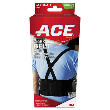 ACE Work Belt with Removable Suspenders - Black (Waists up to 48