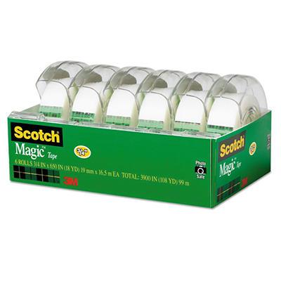 "Scotch - Magic Tape, 3/4"" x 650"" - 6 Rolls in Refillable Dispensers"