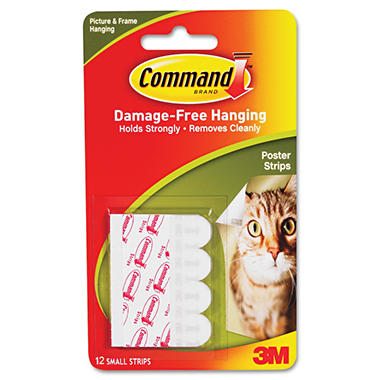 White Command Adhesive Poster Strips - 12 Pack