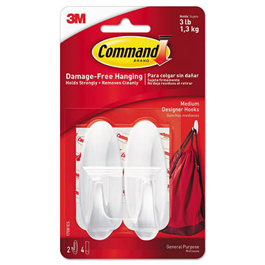 Command™ Hooks, Medium, 3lb Capacity, White, 2 Hooks & 4 Strips