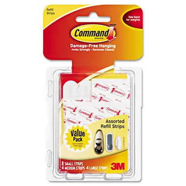 Command™ Assorted Size Refill Strips, White, 16ct.