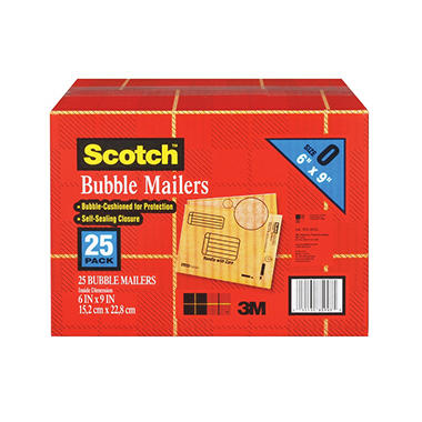 "Scotch Bubble Mailers - size 0 (6"" x 9"") - 25 pk."