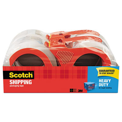 "Scotch - 3850 Shipping Packaging Tape, 1.88"" x 54.6YD - 4 Rolls w/Dispensers"