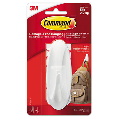 Command™ Hooks, Large, 5lb Capacity, White, 1 Hook & 2 Strips