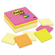Post-it Notes Original Pads, 3 x 3, 100 Sheet Pad, 24 Pads, 2,400 Total Sheets, Canary & Capetown Colors
