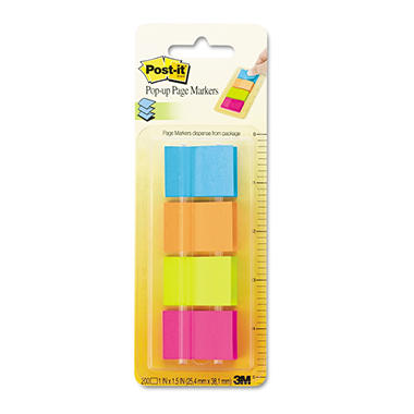 Post-it - Page Markers in Dispenser - Four Colors - 4 50-Flag Dispensers/Pack