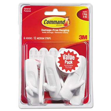 Command™ Hooks, Medium, 3lb Capacity, White, 6 Hooks & 12 Adhesive Strips
