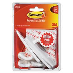 Command™ Hooks, Large, 5lb Capacity, White, 3 Hooks & 6 Adhesive Strips