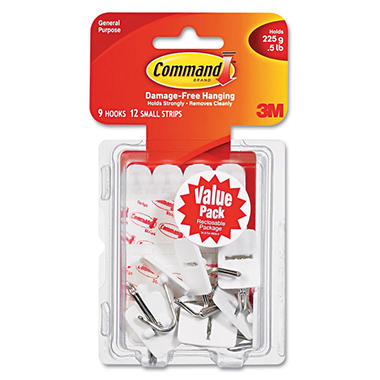 Command™ Hooks, Small, 1lb Capacity, White, 9 Hooks & 12 Strips