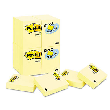 Post-it Notes - Original Pads in Canary Yellow, 1-1/2 x 2, 90/Pad -  24 Pads/Pack