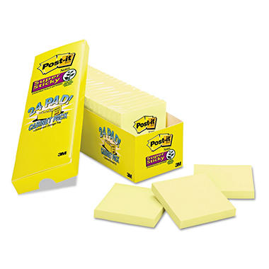 "Post-it - Super Sticky Notes, 3"" x 3"", Yellow, 90 Sheets - 24 Pads"