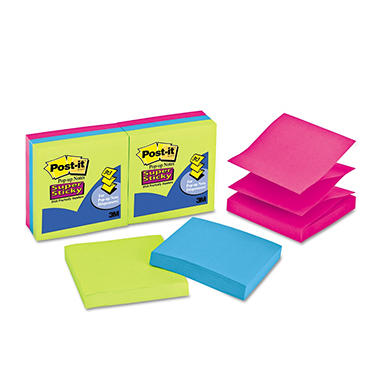 Post-it - Super Sticky Pop-Up Refill - 3 x 3 - 3 Jewel Pop Colors - 6 90-Sheet Pads/Pack