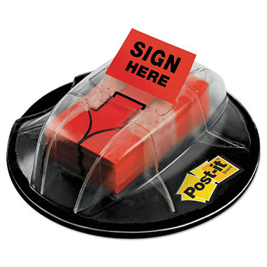 "Post-it Flags - High Volume Flag Dispenser - ""Sign Here"" - Red - 200 Flags/Dispenser"