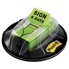 "Post-it - Flags in Dispenser - ""Sign & Date"" - Bright Green - 200 Flags/Dispenser"