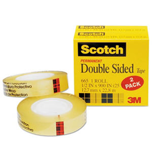"Scotch - 665 Double-Sided Tape, 1/2"" x 900"", 1"" Core, Clear -  2/Pack"
