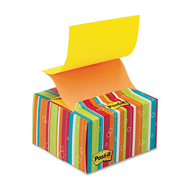 Post-it - Pop-up Notes in a Desk Grip Decorative Box - 3 x 3 - Multicolor Stripes