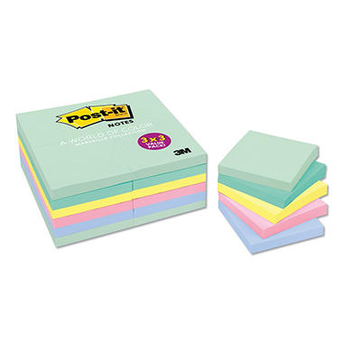 Post-it - Pastel Notes Value Pack - 3 x 3 - Assorted - 24 100-Sheet Pads/Pack