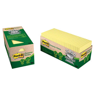 Post-it Greener Notes - Recycled Notes, 3 x 3, Canary Yellow -  24 75-Sheet Pads/Pack
