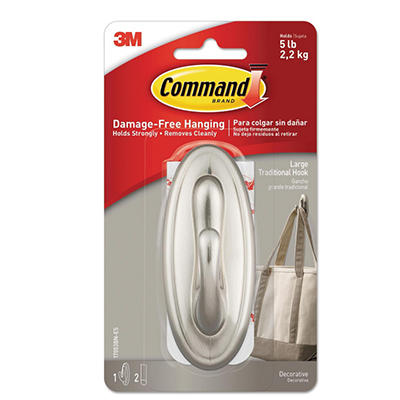 Command - Decorative Hooks, Traditional, Large -  1 Hook & 2 Strips/Pack