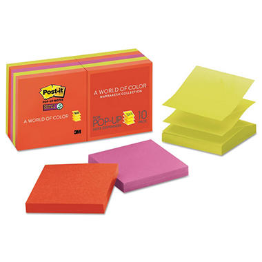 Post-it - Super Sticky Pop-Up Notes - 3 x 3 - Electric Glow - 10 90-Sheet Pads/Pack