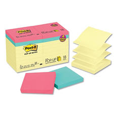 Post-it Pop-up Notes - Original Pop-up Notes Value Pack, 3 x 3, Canary/Capetown, 100/Pad -  18/Pack