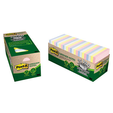Post-it Greener Notes - Original Recycled Notes, Cabinet Pack, 3 x 3, Helsinki, 75/Pad -  24 Pads/Pack