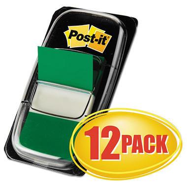 Post-it Flags - Marking Flags in Dispensers, Green, 50 Flags/Dispenser -  12 Dispensers/Pack