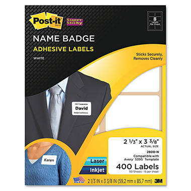 Post-it Super Sticky Name Badge Labels