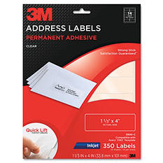 """3M Permanent Adhesive Clear 1 1/3"""" x 4"""" Mailing Labels for Laser Printers - 350 pk."""